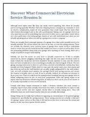 Discover What Commercial Electrician Service Houston Is.doc