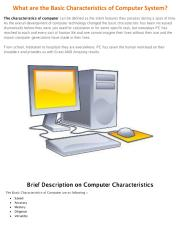 What are the Basic Characteristics of Computer System.pdf