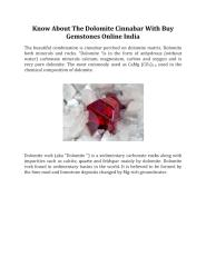 Know About The Dolomite Cinnabar With Buy Gemstones Online India.pdf