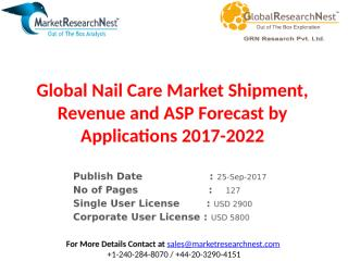 Global Nail Care Market Shipment, Revenue and ASP Forecast by Applications 2017-2022.pptx