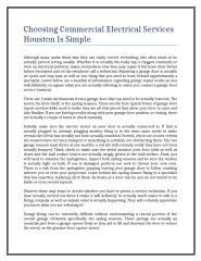 Choosing Commercial Electrical Services Houston Is Simple.doc
